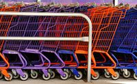 A row of colourful shopping trolleys. Photo: en.wikipedia.org